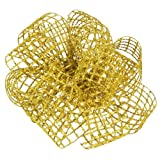 Offray Sonic Gold Mesh Wired Edge Ribbon, 1 1/2