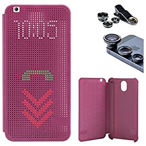 DMG Dot View Interactive Flip Cover Case for HTC Desire 620G (Purple) + 3in1 Fisheye Wide Angle and Macro Lens