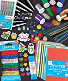 Festive Craft Essentials Super Value Pack. Save 20%! Includes 280 Christmas stickers, 6 glitter shakers, 100 glitter pom poms, 72 tinsel pipe cleaners, 348 mini holographic stickers, 6 fine tip metallic fibre pens, 3 jumbo glue stickers, 50 sheets of card