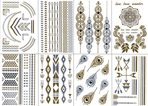 premium-temporary-metallic-tattoos-gold-silver-and-multi-colored-by-bg247r-style-1-8-sheets