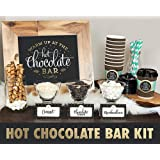 MORDUN Hot Chocolate Bar Kit -Sign Labels Cup Tags - Decorations for Christmas Party New Year's Eve Kids Birthday (Color: Hot Chocolate Bar Kit)