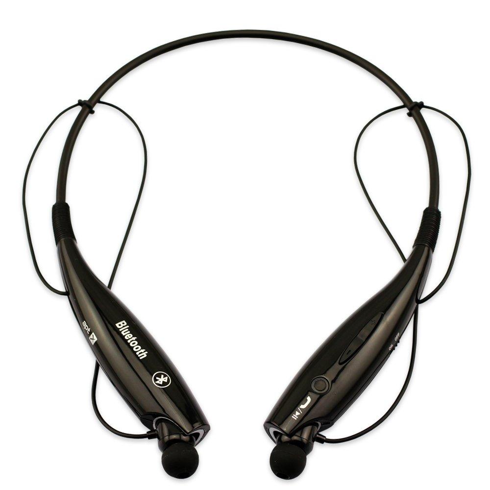 HV Digital® HV-800 Wireless Bluetooth Headset - Bluetooth v4.0 with Memory Flex Neckband Design (Black)