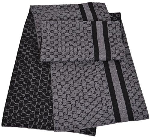Gucci Men`s Black Grey Wool Web Stripe GG Guccissima Muffler Scarf