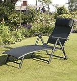 Havana Folding Sun Lounger - Black Cushion