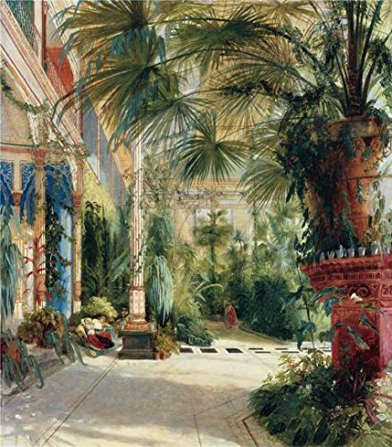 'Carl Blechen-The Interior Of The Palm House,1832' Oil Painting, 20x23 Inch / 51x58 Cm ,printed On Perfect Effect Canvas ,this Vivid Art Decorative Canvas Prints Is Perfectly Suitalbe For Home Theater Decor And Home Decoration And Gifts