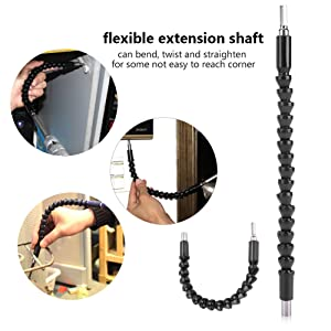 Yosoo Flexible Shaft Bits Extention Screwdriver Drill Bit Holder Connecting (With 12pcs Screw Driver Heads+10pcs Drill Bits) (Color: With 12pcs Screw Driver Heads+10pcs Drill Bits)
