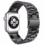 NO1seller Top Apple Watch Band, Premium Solid Stainless Steel Replacement Watch Band Strap Bracelet with Classic Clasp for Apple Watch Series 2, Series 1 (Color: 3Blade-Space Gray 38mm, Tamaño: 38 mm)