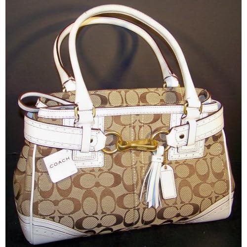 CARRYALL SATCHEL # 10507 (Khaki Brown / White): Handbags: Amazon.com