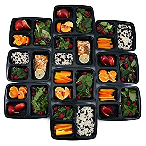 [BONUS-PACK] 10 Premium 3 Compartment BPA FREE Reusable Food Storage Containers with Lids | Bento Lunch Box & Bag | Stackable Portion Control Gadgets & Plates Set for Weight Loss + FREE Cutlery