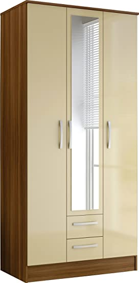 Lynx Modern 3 Door 2 Draw Wardrobe with a Walnut Finish and High Gloss Cream Panels, Mirror and Silver Handles
