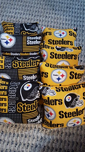 Pittsburgh Steelers Cornhole Bean Bags set of 8 Tournament Regulation (Steeler Corn Hole Bags compare prices)
