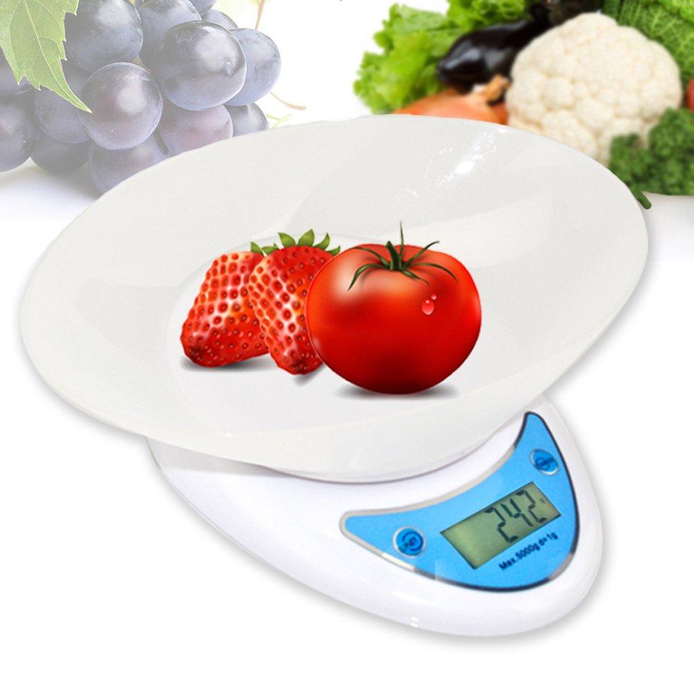 BESTEK Báscula digital de cocina con tazón removible y LCD pantalla, capacidad máxima de 5 kg BTKC002   Comentarios de clientes y más información