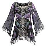 Women's Dramatic Black And Purple Iris Sheer Bell Sleeve Tunic Top