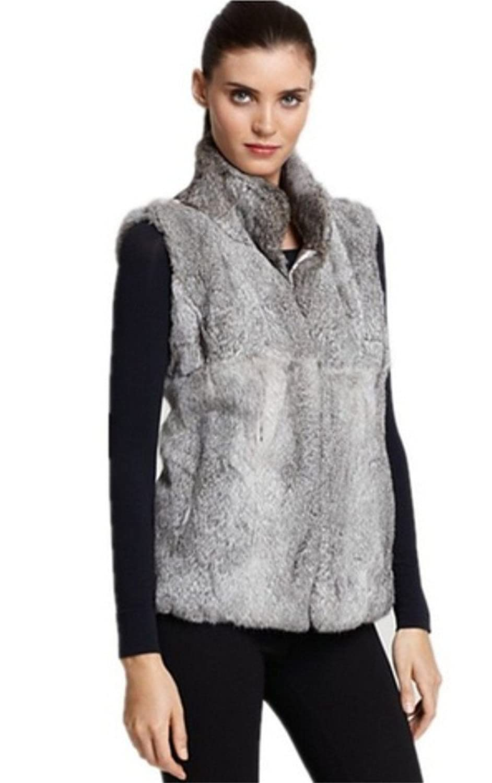 YR Lover Damen Warm Echter Kanichen Pelz Weste Mantel & Reißverschluss online bestellen