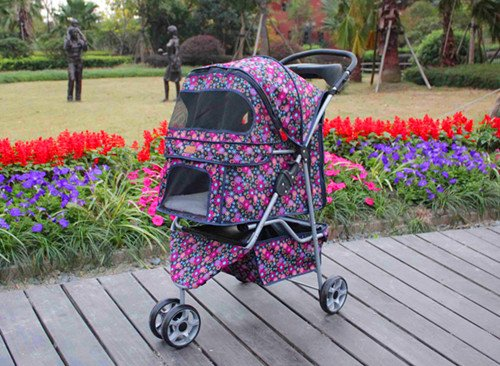 BestPet Pet Stroller Cat Dog 3 Wheel Walk Travel Folding Carrier W/Rain Cover Fashion Flower
