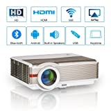 Smart LCD Android Wifi Projector Bluetooth Home Cinema 4200 Lumen LED 1080P Indoor Outdoor Wireless Airplay Miracast for iPhone Smartphone Mac Netflix YouTube Kodi with HDMI USB VGA AV 3.5mm Audio Out (Color: 4200lumen Wifi Bluetooth HD Projector)
