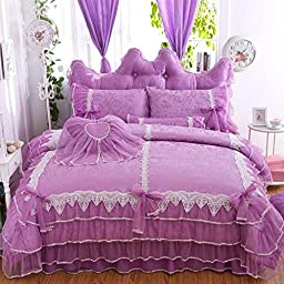 FADFAY Purple Elegant Bedding Set Princess White Lace Ruffled Duvet Cover Sets Girls Bowknot BedSkirt Set Queen 7PCS