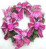 クリスマス リース ポインセチア 松ぼっくり リボン 直径 30 ㎝ ローズ