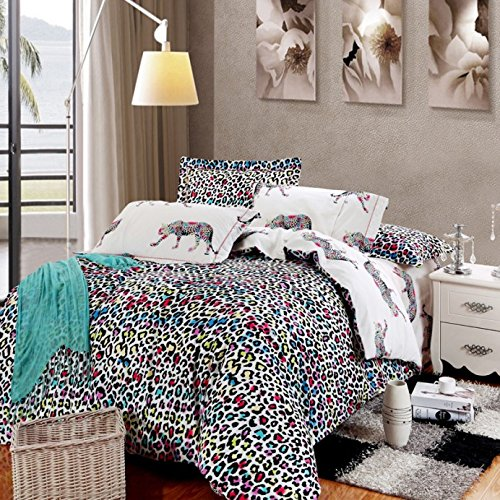 Lt Queen King Size 100% Cotton Thickening Sanded Soft 4-Pieces Colorful Leaopard Skin Leopard Animal Modern Prints Duvet Cover Set/Bed Linens/Bed Sheet Sets/Bedclothes/Bedding Sets/Bed Sets/Bed Covers/5-Pieces Comforter Sets (4, King) front-927910