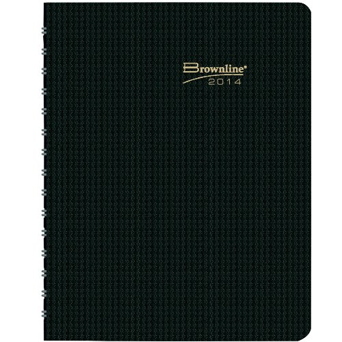 Brownline 2014 DuraFlex Monthly Planner, 14 Months (December 2013 - January 2015), Twin-Wire, Heavy Duty Black Poly Cover, 8.875 x 7.125 Inches (CB1200V.BLK-14)