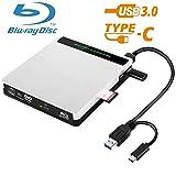 External Bluray Drive NOLYTH 5-in-1 USB3.0/USB C Blu Ray DVD Drive 3D Bluray Player Burner Writer for Laptop/Mac/MacBook/Windows/PC with SD/TF Card Reader/2 USB3.0 Hubs/Protactive Storage Case (Color: Silver, Tamaño: 14.9 cm x14.2 cm x1.8 cm)
