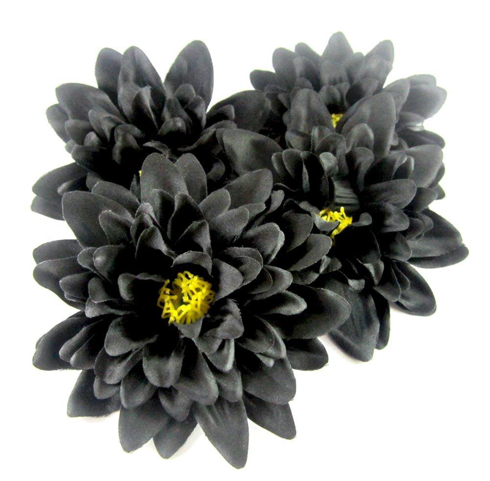 4 Black Silk Dahlia Flower Heads 4 Artificial Flowers Dahlias