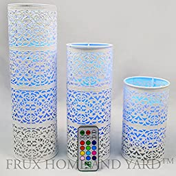 Frux Home and Yard 3 Piece Metal Lanterns with Flameless Pillar Candles and Remote Control, Glossy White
