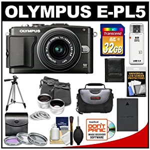 Olympus PEN E-PL5 16.1 MP Digital Camera Body & 14-42mm II R Lens (Black) with 32GB Card + Battery + Case + 3 UV/FLD/PL Filters + Lens Set + Tripod + Accessory Kit