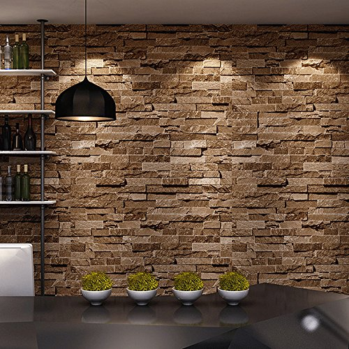 Brick Stone 3D Wallpaper Nature Visual Effect Cleanable