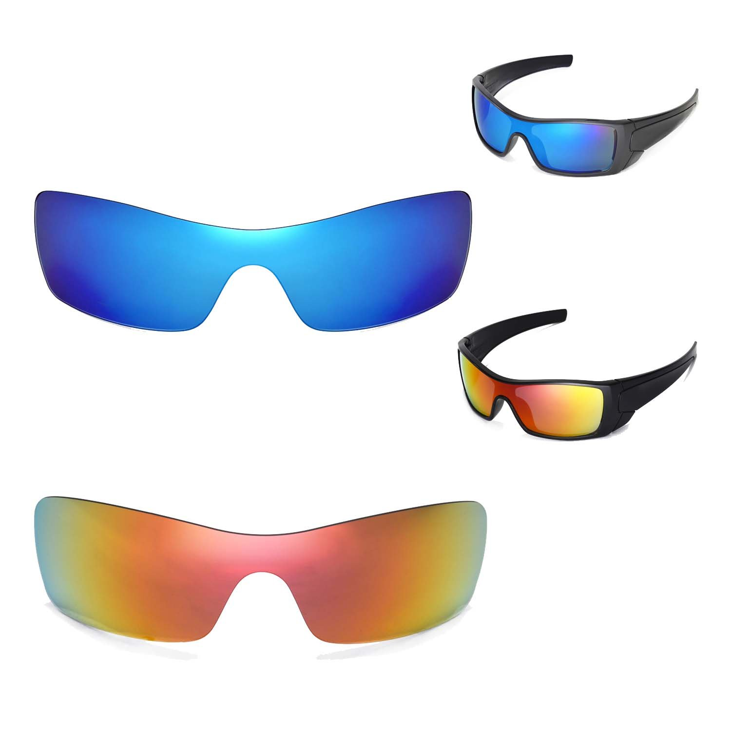 f689961c4a Amazon.com   New Walleva Polarized Fire Red + Ice Blue Lenses for Oakley  Batwolf