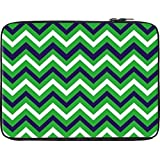 Snoogg Green Waves Pattern 2540 13 To 13.6 Inch Laptop Netbook Notebook Slipcase Sleeve