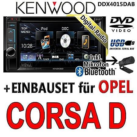 Opel corsa d, noir-kenwood dDX4015DAB 2DIN multimédia cD/uSB avec kit de montage