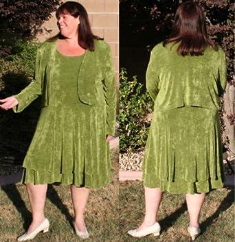 Sage Green Slinky Dress with Bolero Jacket - Size 6X at Amazon Women