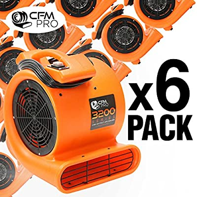 CFM PRO 3,200 Series Air Mover & Carpet Dryer Blower Fan - Package of 6