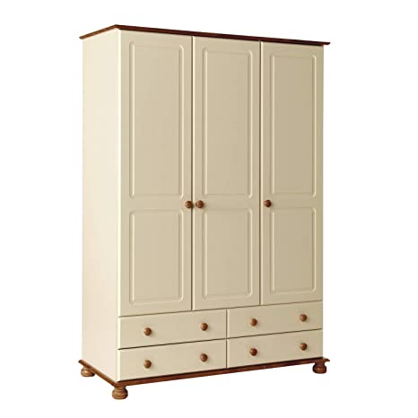 Copenhagen 3 Door 4 Drawer Wardrobe in Cream and Pine