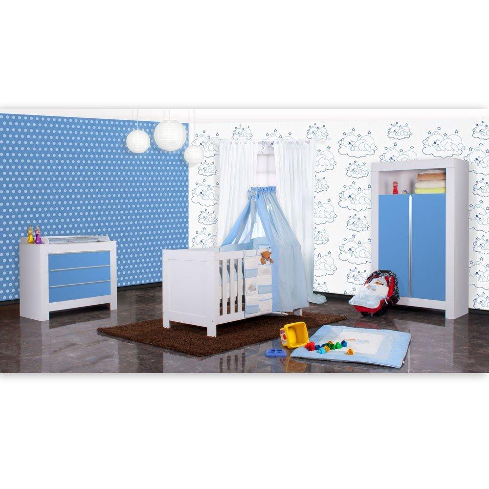 Babyzimmer Felix in weiss/blau 21 tlg. mit 2 türigem Kl + Sleeping Bear in blau