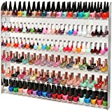 Acrylic Mirror Style 102 Bottle Wall Mounted Nail Polish Rack / Beauty Salon Organizer Display w/ Clear Shelves