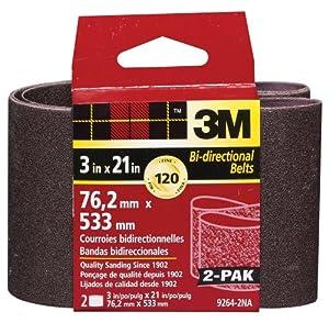 3M 9264NA Heavy Duty Power Sanding Belts - Fine, 120g, 3-Inch x 21-Inch 2-pack