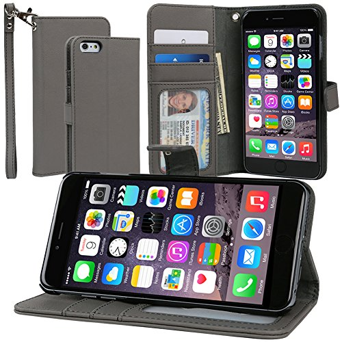 Evecase Iphone 6 Plus Case, Book Style Wallet Folio Leather Case With Credit Card Id Pockets, Stand & Strap For Apple Iphone 6 Plus 5.5'' Screen 2014 Smartphone - Gray