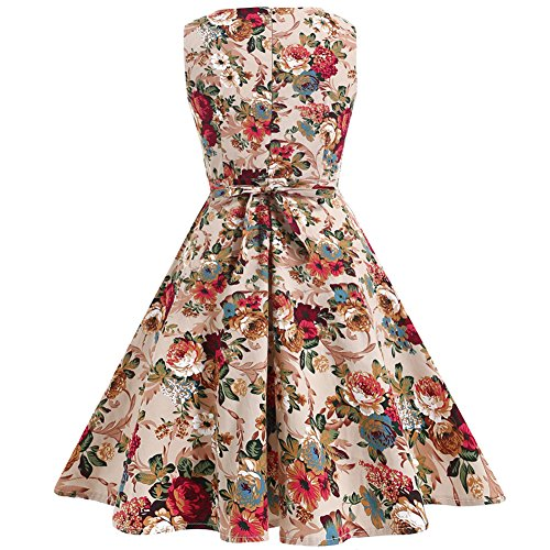 OWIN Women's Vintage 1950's Floral Spring Garden Picnic Dress Party Cocktail Dress 6