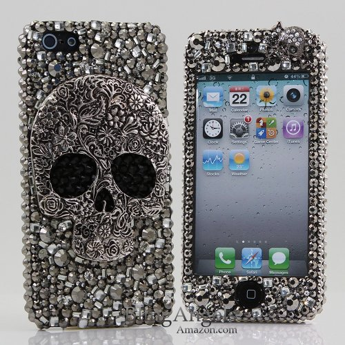 Best Price BlingAngels® 3D Luxury Bling iphone 5 5s Case Cover Faceplate Swarovski Crystals Diamond Sparkle bedazzled jeweled Design Front & Back Snap-on Hard Case (100% Handcrafted by BlingAngels) (Large Skull Design)