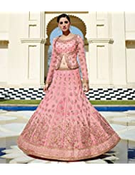 Pink Embroidered Lehenga Anarkali Suit By Jinaam Floral Red Rose Collection