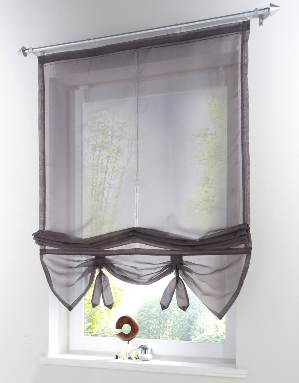 Uphome 1pcs liftable organza kitchen balcony curtains for Balcony curtains