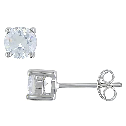 1 Carat White CZ Solitaire Earrings in Sterling Silver