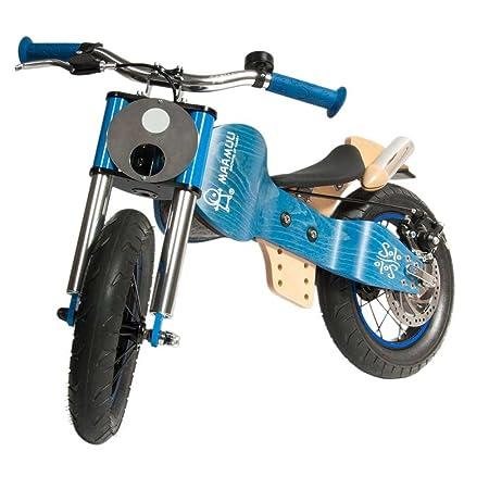 Draisienne MAAMUU SOLO, vélo sans pédales en bois naturel, bleu, FABRIQUÉ en ITALIE