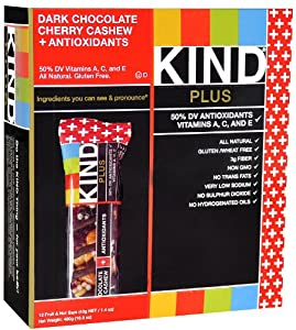 Kind Plus Antioxidant Bars Dark Chocolate Cherry Cashew -- 12 - 1.4 oz. Bars