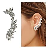 Cute Crystals Cuff Earrings Hypoallergenic Stud Ear Climber Jackets for Women (Silver) (Color: Silver)