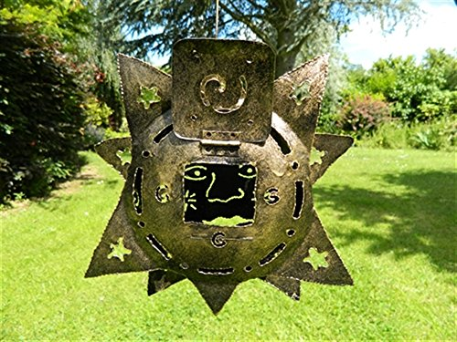 Pair of Hanging Metal Tea light Candle Holders Garden Lanterns - Sun & Moon Tealight