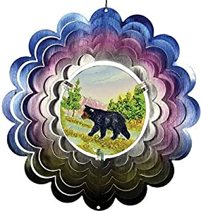 Great World 12 Inch Black Bear Zephyr Spiral Wind Spinner With Poly Resin Insert