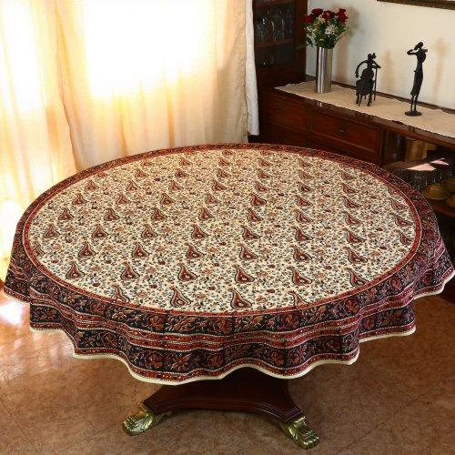 Table de salon design nappe ronde design en coton for Decoration table ronde